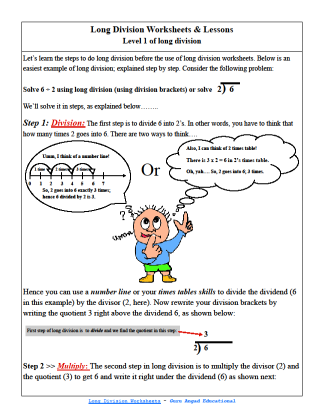 Division worksheets For Kids